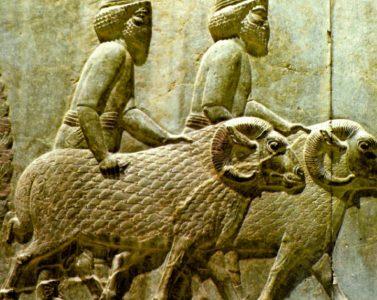 Pastores y carneros del Estandarte de Ur sumerio